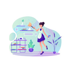 Flat young woman maid at room cleaning service vector
