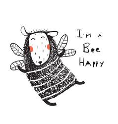 Funny cute sheep bee happy card vector