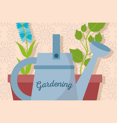 gardening watering can and pot plants natural vector image