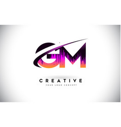 Gm g m grunge letter logo with purple vibrant vector