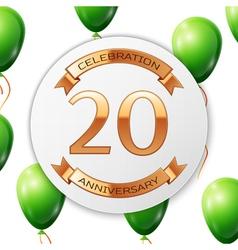 Golden number twenty years anniversary celebration vector image vector image