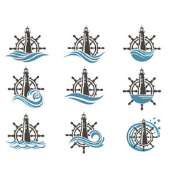 Icons set of helm and lighthouse vector