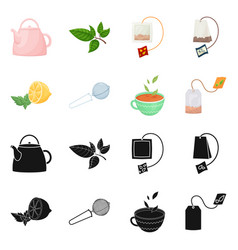 isolated object of healthy and floral symbol set vector image