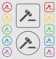 Judge hammer icon Symbols on the Round and square vector