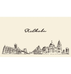 Kolkata skyline vintage drawn vector