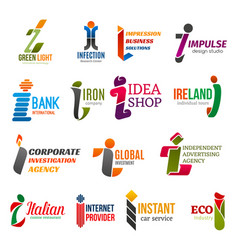 letter i corporate identity business icons vector image