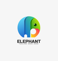 Logo elephant gradient colorful style vector