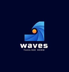 logo wave gradient colorful style vector image