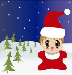 manga baby santa vector image