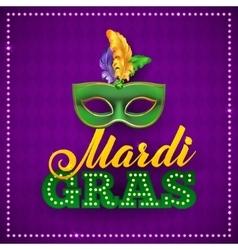 Mardi gras party mask postercalligraphy vector