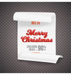 Marry Christmas Scroll Banner Template vector image