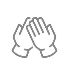 Medical latex gloves line icon hand disinfection vector
