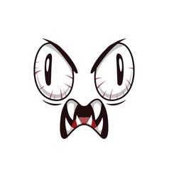 Monster face cartoon icon creepy creature vector