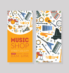 Music shop business card template with musical vector