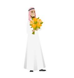 Muslim businessman holding bouquet of flowers vector