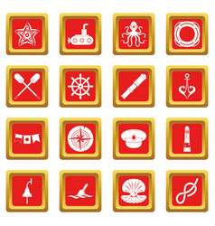 nautical icons set red vector image