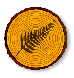New zealand silver fern on timber section vector
