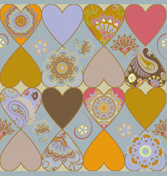 Ornate heart patchwork quilt pattern vector