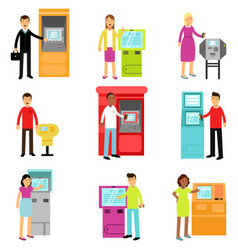 People doing atm machine money deposit or vector