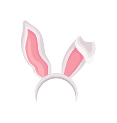 Pink and white rabbit ears party holidays vector