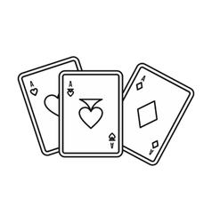 Playing cards icon outline style vector image