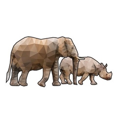 Polygonal rhinoceros vector
