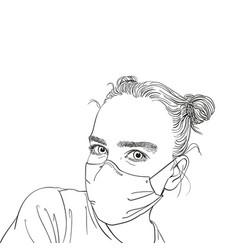 Portrait teenage girl in medical face mask vector