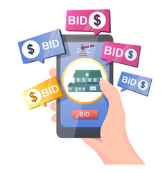 real estate auction online concept for web vector image