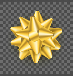 realistic detailed 3d golden gift bow on a vector image