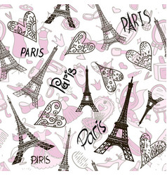 romantic seamless eiffel tower paris background vector image