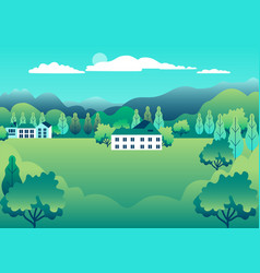 rural valley view farm countryside village vector image
