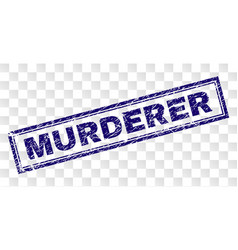 Scratched murderer rectangle stamp vector