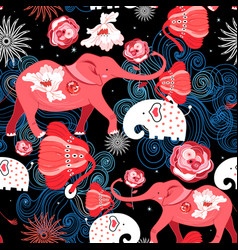 Seamless bright festive pattern of red elephants vector