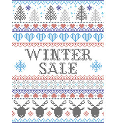 Seamless christmas pattern winter sale nordic vector