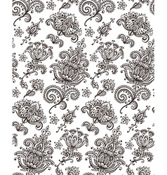 Seamless pattern with hand drawn Henna design vector