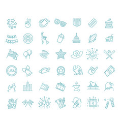 set 42 usa independence day line icons suitable vector image