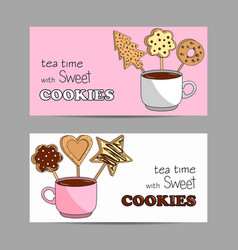 set horizontal banners with cup tea and vector image