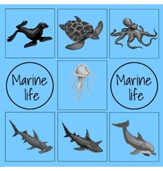 set marine animals card with space for text vector image
