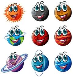 Set of cartoon planets vector