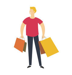shopping experience a person standing with vector image