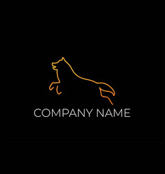 simple jumping dog wolf fox line outline logo vector image