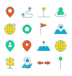 Simple set route related line icons vector