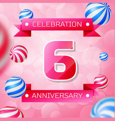 Six years anniversary celebration design banner vector