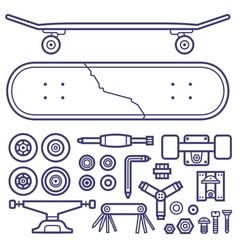 skateboarding repair icon set vector image