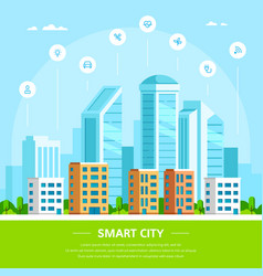 smart city concept banner design in flat style vector image