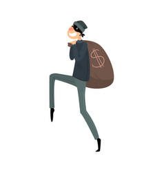 Sneaking thief in mask and black suit with a bag vector