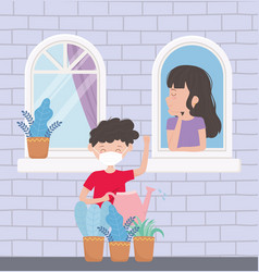 stay at home woman in window boy with watering vector image