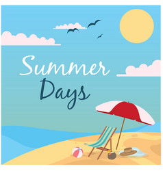 summer days beach umbrella and chair background ve vector image