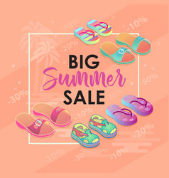 summer sale banner with colorful shoes vector image