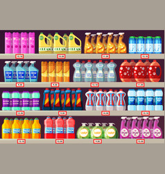 Supermarket shelves with cleaning agents vector